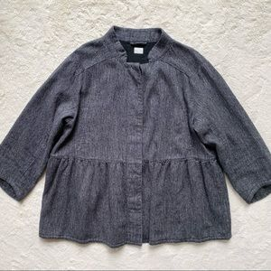 Poetry linen wool blend LAGENLOOK button up peplum jacket 8